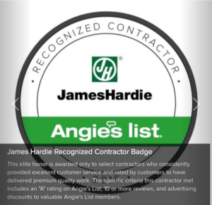 Angie's List James Hardie Recognized Contractor